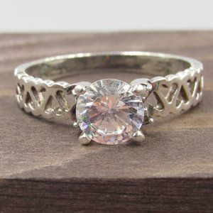 Jewelry - Size 8.25 Sterling Silver CZ Diamond Hearts Ring